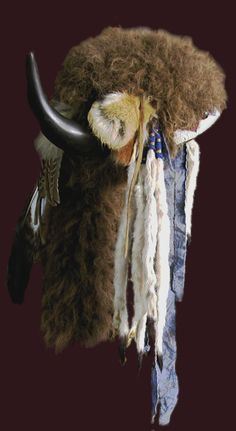 Buffalo Horn Headdress - buffalo fur, hand polished buffalo horns, calico, feather, hawk bell, lazy stitch beadwork, glass seed beads, red fox fur, ermine, etc.