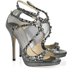 Jimmy Choo Viola crystal-embellished leather and mesh sandals ❤ liked on Polyvore