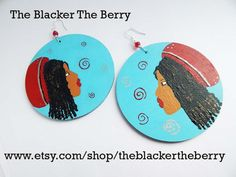 Dreadlocks Earrings Locs Jewelry Wooden Ethnic Blue Red Black Hair Natural Hair Earrings Handmade Hand painted Wood Afrocentric by TheBlackerTheBerry
