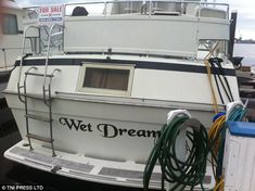 They say that you might experience more unusual dreams when sleeping on a boat, as the name of this vessel alludes to Funny Boat Names, Best Entrepreneur Quotes, Big Deck, Boat Humor, Boat Wraps, Ship Names, Boat Stuff, Wet Dreams, Pirates Of The Caribbean