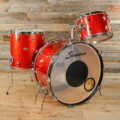Slingerland 13/16/22 3pc Drum Kit Red Sparkle 70s USED
