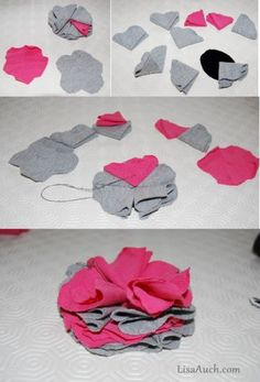 How to make easy knotted fabric headbands and fabric flowers from your Old T-shirts.