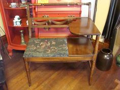 Gorgeous Vintage Walnut (?) Gossip Bench Telephone Writing Table turned wood MCM