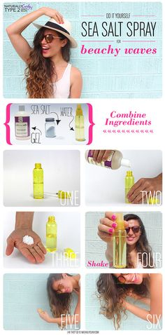 DIY sea salt spray for awesome beach hair. Wavy Hair, New Hair, Curly Hair Spray, Wavy Curls, Diy Sea Salt Spray, Salt Water Hair Spray, Curly Hair Styles, Natural Hair Styles, Super Hair