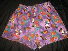 Vintage MICKEY MOUSE Goofy Disney Jerry Leigh Hawaiian Purple Stretch Shorts XL ***FREE SHIPPING***