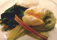 RECIPE: Wild garlic and local cheddar aligot with steamed chard and poached eggs.