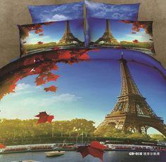 Parijs eiffeltoren 100 % katoen dekbed beddengoed set sprei dekbedovertrek koning queen size bed in een zak in Bedding Sets van Huis & Tuin op Aliexpress.com