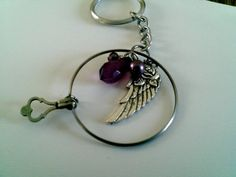 purple bead Optical lens Key chain angel wing by KikisCollections, $15.00