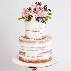All The Wedding Cake Inspiration You'll Need In 2018 - Wilkie: Au natural cakes are perfect for a minimalistic bride!