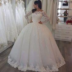 2017 NewWeddingdress vestidos de noiva Long Sleeve Lace Wedding Dresses Ball Gown Tulle Wedding Gowns Bridal Bride Dresses