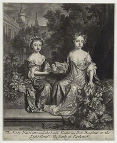 Henrietta Scott (née Hyde), Countess of Dalkeith; Mary Seymour-Conway (née Hyde), Lady Conway    by John Smith, published by Edward Cooper, after William Wissing  mezzotint, 1685