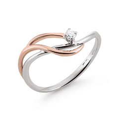 Engagement Ring .03 CT White / Pink Gold from Italian Jewelers, OR2444G-BR