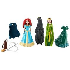 Brave Story MagiClip Merida and Queen Elinor Fashions Gift Set by Mattel. $19.29. Disney Brave Small Doll Deluxe Bag Girls can recreate the tender tale at the heart of the Disney movie Brave with this deluxe story bag featuring key characters from the film. Everything can be stored in the vinyl carryall for onthego play!. Set also comes with a cape, an additional fashion for Merida, a cake and her beloved bow-and-arrow set. Includes Merida doll, wearing a beautifu...