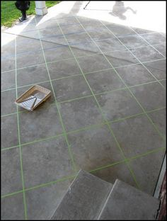Back patio makeover using tape and concrete stain. Wish my patio looked like this. Cement Stain, Stained Concrete, Concrete Floors, Concrete Patios, Concrete Patio Paint, Concrete Staining, Floor Stain, Decorative Concrete, Tile Patio Floor