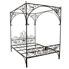Queen Wrought Iron Vine Canopy Bed | From a unique collection of antique and modern beds at https://www.1stdibs.com/furniture/more-furniture-collectibles/beds/
