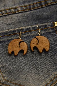 Wood Necklace, Wooden Earrings, Wooden Jewelry, Pendant Earrings, Small Elephant, Wood Burning Crafts, Elephant Earrings, Recycled Jewelry, Scroll Saw Patterns
