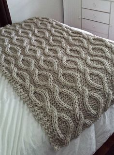 Knitting Pattern for Infinity Cable Blanket - Big braided cables knit with giant needles and 4 strands of worsted held together or 2 strands of bulky/super bulky yarn for a quick afghan. Approximately 40 x 70 inches. Designed by Allison Huddleston