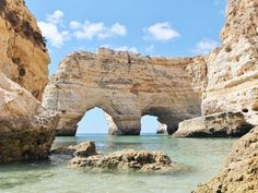 It's no wonder that Praia da Marinha is one of the most photographed beaches in Portugal—it's the archetypal Algarve beach cove, with its golden sand, turquoise waters… Best Beaches In Portugal, Best Beaches In Europe, Beaches In The World, Portugal Travel, Spain Travel, Portugal Trip, Visit Portugal, Best Vacations, Vacation Destinations