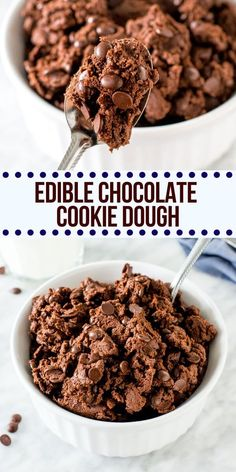 What's the only thing better than a fudgy chocolate cookie? Eating the dough of course! This edible chocolate cookie dough is safe to eat because it's eggless and has no raw flour. Cookie Dough For One, Eating Raw Cookie Dough, Healthy Cookie Dough, Cookie Dough Recipes, Edible Cookie Dough, Chocolate Cookie Recipes, Fun Baking Recipes, Healthy Dessert Recipes, Sweet Recipes