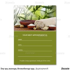 Day spa, massage, Aromatherapy appointment card Large Business Cards (Pack Of 100)