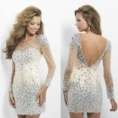 Short Mini Sexy Open Back Cooktail Party Dresses Full Sleeves Scalloped Neck Prom Dresses With Full Beads And Crystals