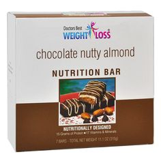 (7 bars per box) A delicious chocolate covered bar with almond filing over a cookie base.These deliciously crispy, aspartame-free protein diet bars boast 15 grams of protein, of which 12 or more are soy, 10-15% RDI of 17 vitamins and minerals, and 5 grams of fiber. They're great as a...