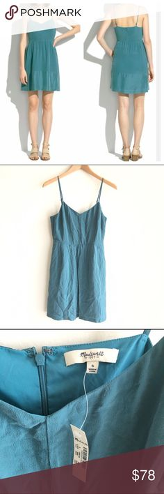NEW Madewell Silk Bordershine Cami Dress Teal A brushed silk slipdress with a touch of lustre from the satin border.  Easy and effortless for Spring and Summer.  Delicate cami straps.  Pockets.  A2672 Brand new, with tags. Madewell Dresses Mini