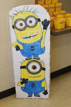 Hand made cardboard standee for my sons' minion themed birthday party.