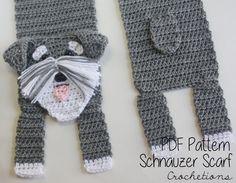 Crochet PATTERN - Schnauzer Scarf / Dog Breed Scarf, Puppy Scarf, Dog Scarf, Neck Warmer - PATTERN ONLY by CrochetionsbyShell on Etsy https://www.etsy.com/listing/220825091/crochet-pattern-schnauzer-scarf-dog