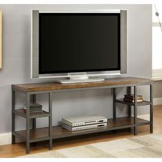 Furniture of America Payton Industrial Tiered TV Stand - Overstock Shopping - Great Deals on Furniture of America Entertainment Centers 60 Inch Tv Stand, Plasma Tv Stands, Solid Wood Tv Stand, Metal Tv Stand, Home Entertainment Centers, Traditional Cabinets, Cool Tv Stands, Diy Tv Stand, X 23