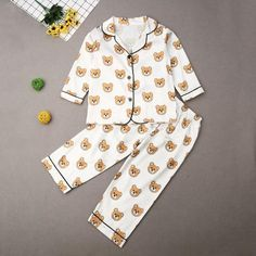 Sleeve Length(cm): FullClosure Type: Single BreastedMaterial: Cotton, PolyesterFit: Fits true to size, take your normal size Satin Pyjama Set, Satin Pajamas, Pajama Set, Silk Material, Cartoon Kids, Clothes For Sale, Lounge Wear, Boy Or Girl, Men Casual