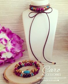 Choker and arm candy. Pulseras en madera. by CaroAccessories
