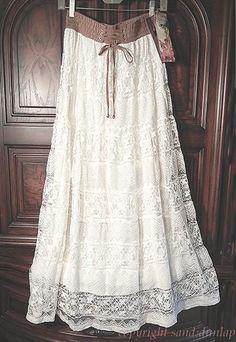 LAPIS Pale Ivory ~Victorian Vintage~ LACE Peasant Prairie Skirt