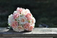 Blush coral and pink roses and hydrangea by Hollysflowershoppe, $110.00