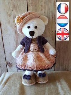 Tutoriel en français, anglais et néerlandais,  Fanchon, la petite ourse Crochet Animals, Crochet Toys, Crochet Designs, Crochet Projects, Crochet Ideas, Arts And Crafts, Teddy Bear, Dolls, Etsy