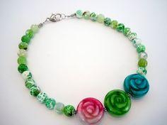 Carved Jade Flowers With Green Agate Beaded Strand by DebbieRenee, $42.00, handmade jewelry