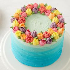 How to Make an Ombre Floral Cake - decorating ideas - Gateau Cake Decorating Designs, Creative Cake Decorating, Cake Decorating Techniques, Creative Cakes, Russian Cake Decorating Tips, Cool Cake Designs, Decorating Ideas, Pretty Cakes, Cute Cakes