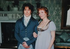 FCBTC / Hugh Grant and Emma Thompson behind the scenes (possibly at a costume test) of Sense and Sensibility (1995). Dir by Ang Lee. Art Direction by   Philip Elton, Andrew Sander,supervising art director. Set Decoration by Ian Whittaker. Costume Design by Jenny Beavan & John Bright