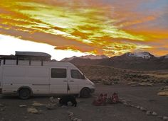 Tree and Stevie (and new baby Soleil!) Trujillo are the SprinterLife team, on the road in South America. Here their Sprinter basks in a fiery sunset in the Sajama Desert in Bolivia (from SprinterLife.com).