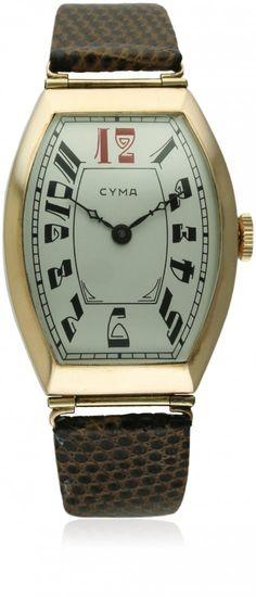 A RARE GENTLEMAN'S LARGE SIZE 14K SOLID GOLD CYMA TONNEAU WRIST WATCH CIRCA 1920