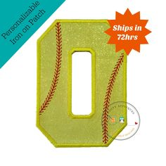 Neon yellow glitter softball iron on applique number 0, bright glitter embroidered iron on patch