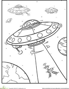 Outer Space Coloring: Spaceships Worksheet