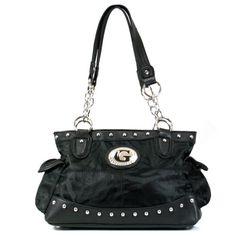 Patchwork Flower Print Satchel Handbag Decorated with Metal Studs K1327 Black *** Click image for more details.