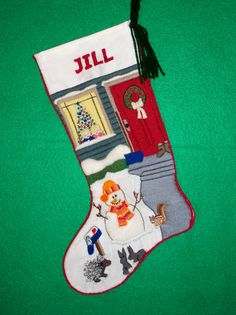 Crewel Embroidery Christmas Stocking Kit - Admiring the Snowman