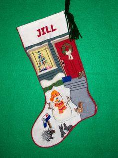 Admiring the Snowman Crewel Embroidery Christmas Stocking Kit