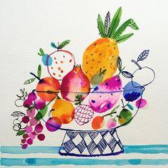 Inky fruit bowl finished. #carolyngavin #pricklypear #pomegranate #raspberry #plum #inktober2016 #intober #penandink