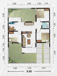 12 x 9 Dream House Plans, Modern House Plans, Small House Plans, House Floor Plans, Minimalist House Design, Minimalist Home, Affordable Bedroom Sets, Type 45, Relax House