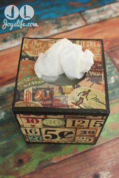 Tim Holtz Fabric Tissue Box - using Antique Mod Podge!