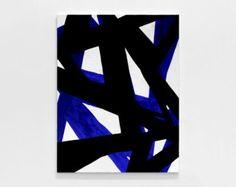 Black And White Blue oil Painting Minimalist by modernismartstudio