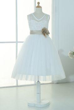 2ba14d4ee5027 Ivory lace tulle sweetheart flower girl dress $40 custom color bow Tulle  Flowers, Tulle Flower